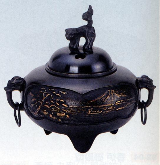 香炉・香立て■ 香炉 平丸型(鐶付山水) ■青銅(ブロンズ)製 桐箱入り【高岡銅器】