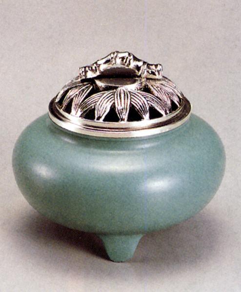 香炉・香立て■ 香炉 珠玉型(竹蓋) ■青銅(ブロンズ)製 桐箱入り【高岡銅器】