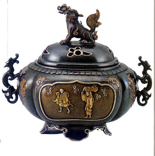 香炉・香立て■ 香炉 獅子蓋(間取人物) ■大峰作 蝋型青銅(ブロンズ)製 証付 桐箱入り【高岡銅器】