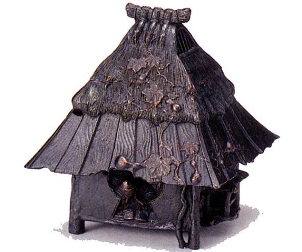 香炉・香立て■ 東屋 六瓢合掌造り ■蝋型青銅(ブロンズ)製 桐箱入り【高岡銅器】