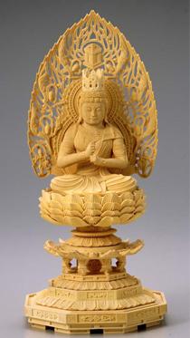 仏像 木製御本尊仏像■真言宗■ 大日如来 2.0寸 飛天光背 八角座 ■ つげ(ツゲ 柘植 黄楊 柘)■手彫り