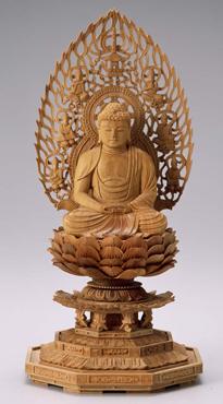 仏像 木製御本尊仏像■天台宗■ 座弥陀 3.0寸 八角台 飛天光背 ■ 白檀(びゃくだん) ■阿弥陀如来 手彫り