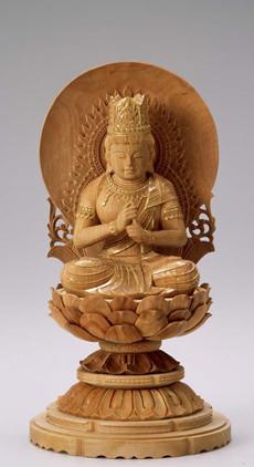 仏像 木製御本尊仏像■真言宗■ 大日如来 円光背 3.0寸 ■ 白檀(びゃくだん) 丸台(蓮華台)  ■手彫り