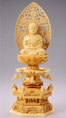 仏像 木製御本尊仏像■ 座釈迦 3.5寸 唐草光背 ■ 桧(ひのき・檜) ケマン座 ■釈迦如来 手彫り