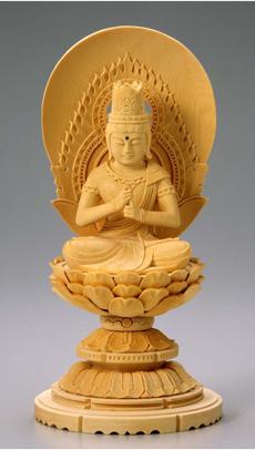 仏像 木製御本尊仏像■真言宗■ 大日如来  3.0寸  丸台(蓮華台) 円光背 ■桧(ひのき・檜)■手彫り