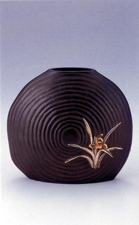 花器・花瓶■ 蘭 ■佐野宏采作 銅製 桐箱入り【高岡銅器】