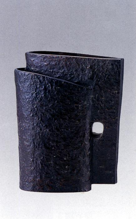 花器・花瓶■ 日月花器 ■三浦和夫作 銅製 桐箱入り【高岡銅器】