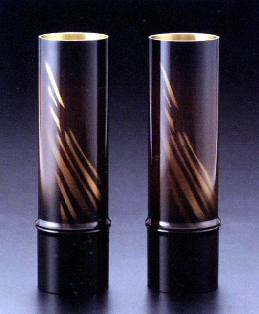 花器・花瓶■ 対入 細竹型 オーロラ金茶 7.5号 ■銅製 紙箱入り【高岡銅器】
