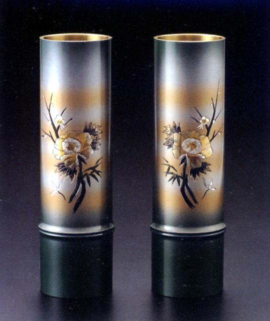 花器・花瓶■ 対入 細竹型 牡丹四君子 7.5号 ■銅製 紙箱入り【高岡銅器】