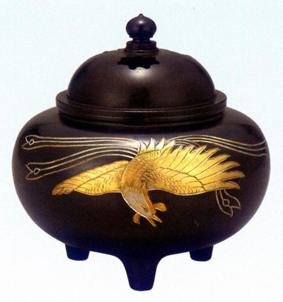 香炉・香立て■ 彫金香炉 平型鳳凰文 ■黄銅(真鍮・しんちゅう)製 桐箱入【高岡銅器】