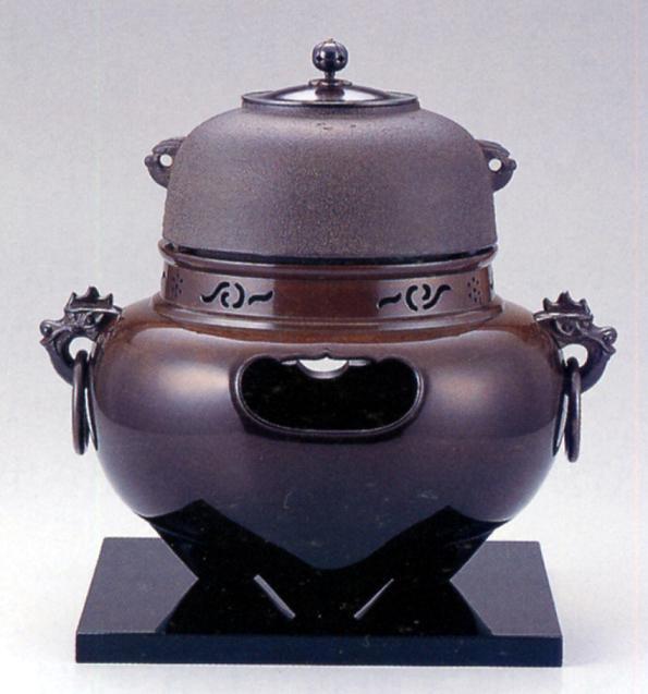 茶器・茶道具■ 鬼面風炉セット ■菊地浄慶・鍋谷友賢作 銅・鉄製 紙箱入り【高岡銅器】