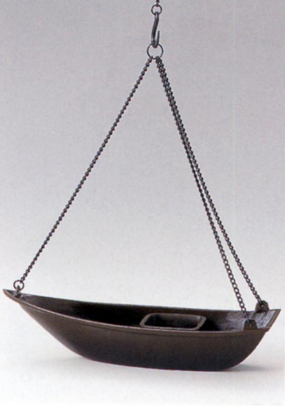 茶器・茶道具■ 釣舟 花入 並 ■銅製 舟鎖付 紙箱入り【高岡銅器】