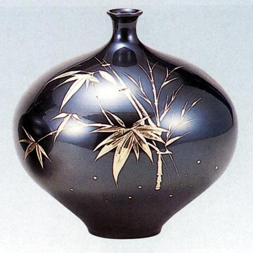 花器・花瓶? 花瓶 みつぼ型(竹彫金) ?青銅(ブロンズ)製 桐箱入り【高岡銅器】