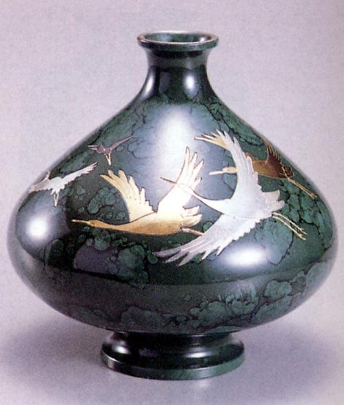 花器・花瓶■ 花瓶 6寸高峰型(五羽鶴彫金) ■瑞峰作 青銅(ブロンズ)製 紙箱入り【高岡銅器】