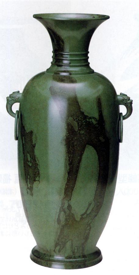 花器・花瓶■ 花瓶 尺6 鐶付平安型 ■青銅(ブロンズ)製 ダンボール入り【高岡銅器】