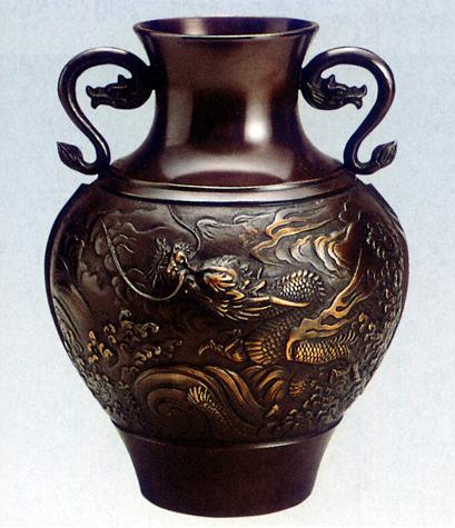 花器・花瓶■ 花器 9寸達磨型 ■坂田七太郎作 青銅(ブロンズ)製 紙箱入り【高岡銅器】