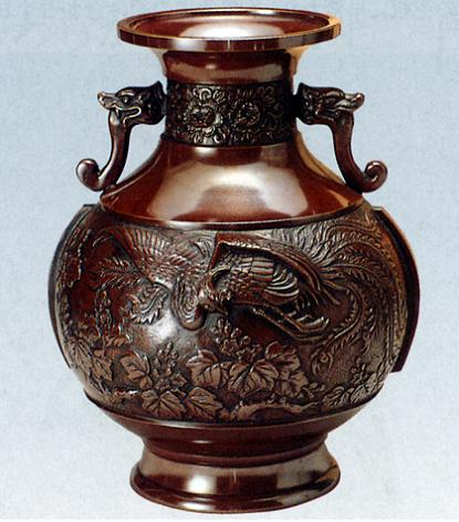 花器・花瓶■ 花器 達磨型(桐鳳凰) ■坂田七太郎作 青銅(ブロンズ)製 紙箱入り【高岡銅器】