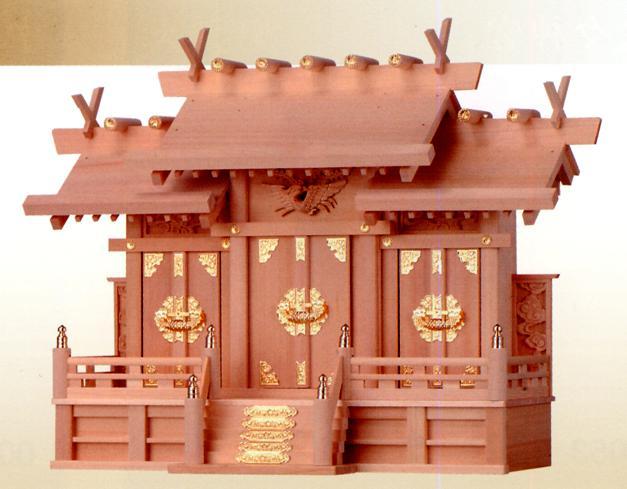 お宮 神棚 神殿■ 檜製 屋根違い三社(彫物付) 中 ■檜製神殿【日本製】