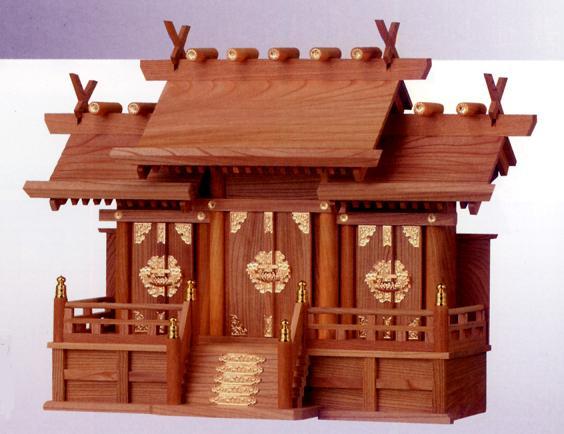 お宮 神棚 神殿■ 欅屋根違い三社 中 ■特撰神殿【日本製】