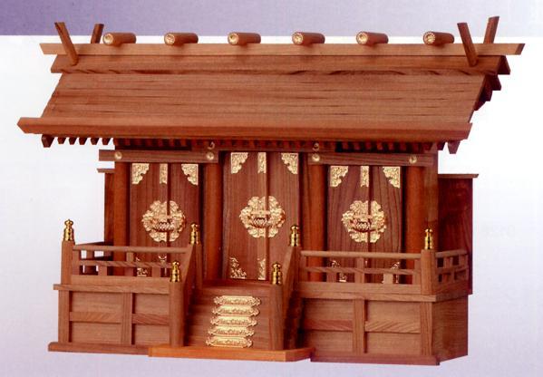 お宮 神棚 神殿■ 欅通し屋根三社 中 ■特撰神殿【日本製】