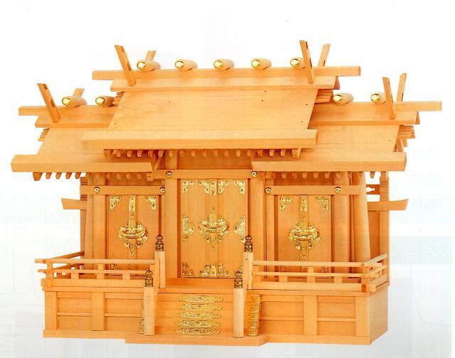 お宮 神棚 神殿■極上本神明屋根違い三社 大■尾州檜【日本製】