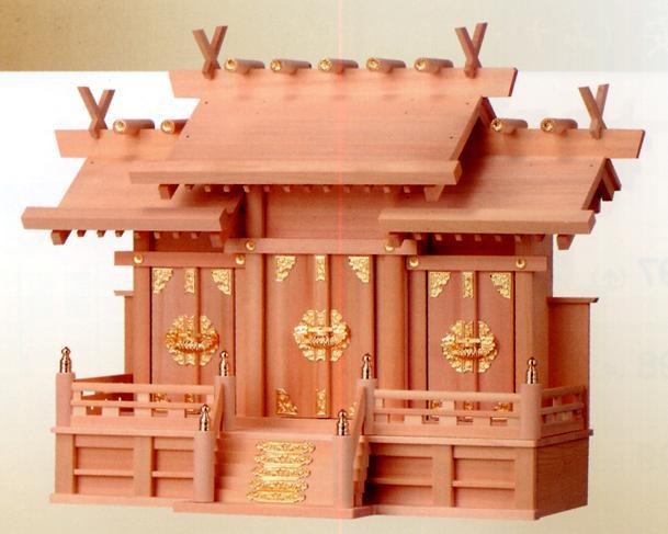 ■檜製神殿【日本製】 大 屋根違い三社 神殿■ 神棚 檜製 お宮