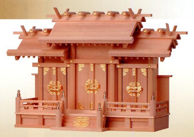 お宮 神棚 神殿■ 檜製 屋根違い三社(低高) 中 ■檜製神殿【日本製】