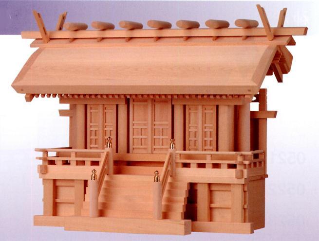 お宮 神棚 神殿■ 横通し三社厚屋根(みす付) 2.5尺 ■特撰神殿【日本製】