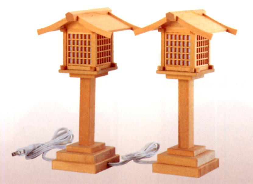 お宮 神棚 神殿■ 木製(尾州檜)神前灯籠 電装式 大 ■神具 付属品