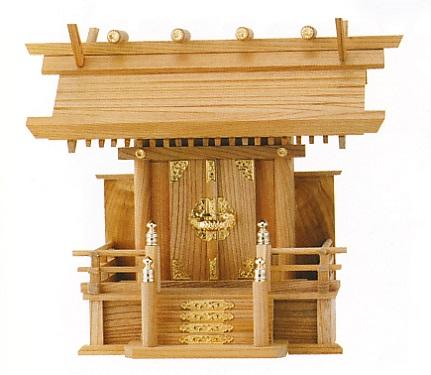 お宮 神棚 神殿■ 欅板屋根一社 金具 ■尾州檜【日本製】