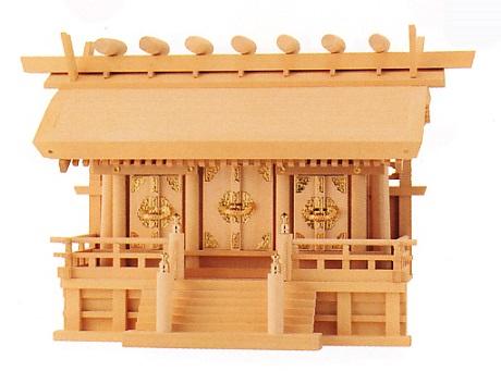お宮 神棚 神殿■ 横通し三社厚屋根(みす付) 金具 2.5尺 ■尾州檜【日本製】
