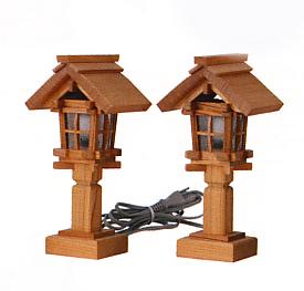 お宮 神棚 神殿■ 木製(欅・ケヤキ)神前灯籠 電装式 板屋根7.5号 ■神具 付属品