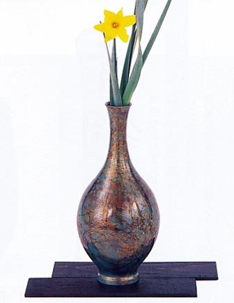 花器・花瓶■ 花瓶 9寸 福鶴型 敷板付■瑞峰作 青銅(ブロンズ)製 紙箱入り【高岡銅器】