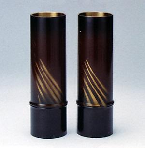 花器・花瓶■ 細竹型 7.5号オーロラ(金茶) ■対 銅製 紙箱入り【高岡銅器】