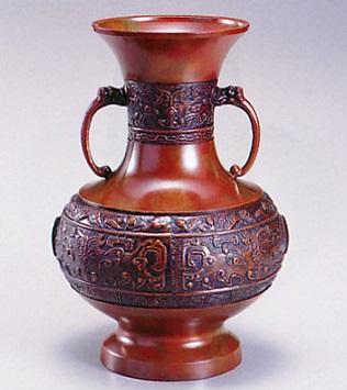 花器・花瓶■ 花瓶 貫通型(鬼面地紋) 7寸 ■青銅(ブロンズ)製 紙箱入り【高岡銅器】