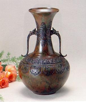花器・花瓶■ 花瓶 尺0龍鳳型 ■青銅(ブロンズ)製 紙箱入り【高岡銅器】
