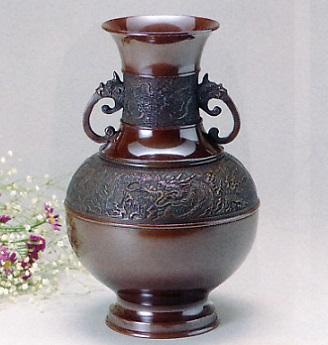 花器・花瓶■ 花瓶 尺1寸竜華 ■青銅(ブロンズ)製 紙箱入り【高岡銅器】