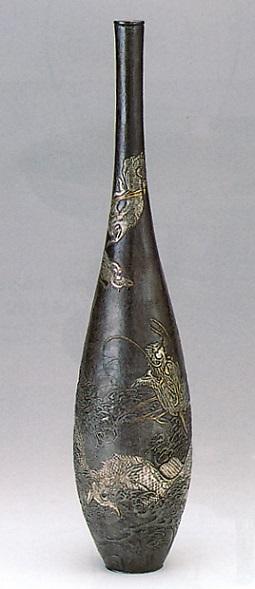 花器・花瓶■ 花器 尺5 曽呂利(双龍) ■大峰作 蝋型青銅(ブロンズ)製 桐箱入り【高岡銅器】