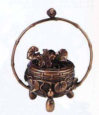 香炉・香立て■ 香炉 花籠 ■蝋型青銅(ブロンズ)製 桐箱入り【高岡銅器】