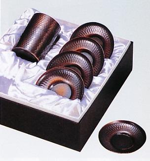 茶器・茶道具■ 茶器 鎚目(2点セット) ■銅製 紙箱入り【高岡銅器】