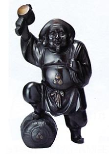 仏像 七福神■ 尺1寸 福大黒 ■南部保(号 祥雲)作■青銅(ブロンズ)製 【高岡銅器】