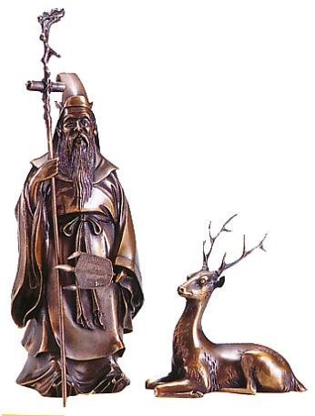 仏像 七福神■ 鹿寿老人 ■蝋型青銅(ブロンズ)製 桐箱入【高岡銅器】
