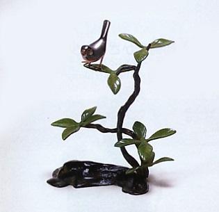 置物 小物■ 山茶花に文鳥 ■青銅(ブロンズ)製 紙箱入り【高岡銅器】