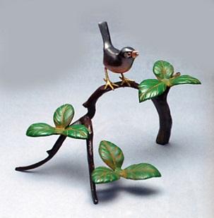 置物 小物■ 柏に文鳥 ■青銅(ブロンズ)製 紙箱入り【高岡銅器】