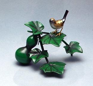 置物 小物■ 瓢箪に雀 ■青銅(ブロンズ)製 紙箱入り【高岡銅器】