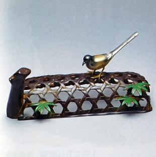 置物 小物■ 蛇籠にセキレイ ■青銅(ブロンズ)製 紙箱入り【高岡銅器】