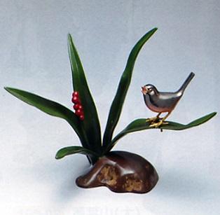 置物 小物■ 万年青に文鳥 ■青銅(ブロンズ)製 紙箱入り【高岡銅器】