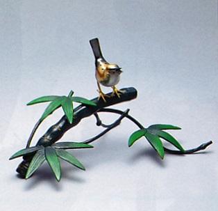 置物 小物■ 竹に雀 ■青銅(ブロンズ)製 紙箱入り【高岡銅器】