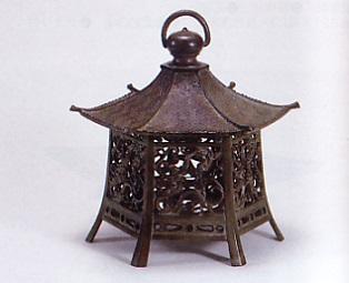庭園置物■ 吊燈籠 六角 大 ■青銅(ブロンズ)製【高岡銅器】