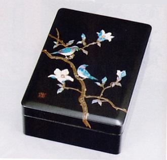 文具 置物■ 文庫 錆絵花鳥 ■木製 螺鈿(らでん)紙箱入【高岡漆器】